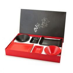 porcelánový servis na SUSHI - Black & Red