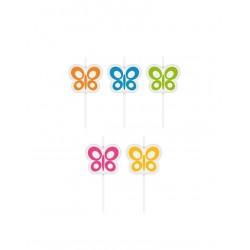 Dortové svíčky DELÍCIA KIDS, 5ks, motýlci
