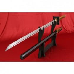 ninja meč YASUNORI z uhlíkové oceli AISI 1045 s leštěnou imitací hamonu