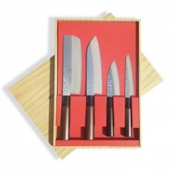 sada nožů II tsuchime - box 4 ks Sekyriu Japan, hnědá rukojeť