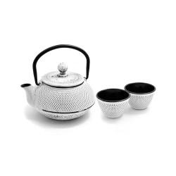 litinová konvička Arare white na čaj 600 ml + 2 šálky