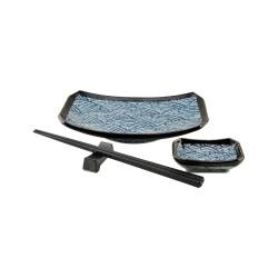 porcelánový servis na SUSHI - Blue Wawe Midi